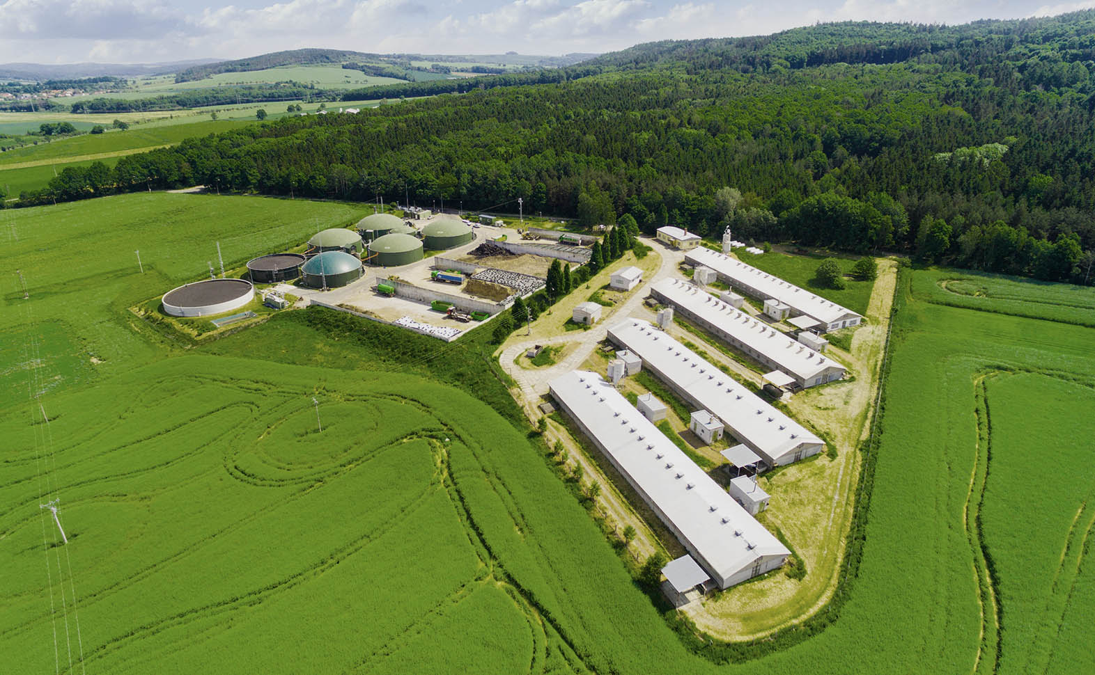 Aerial view over biogas plant and farm in green fields. Renewabl